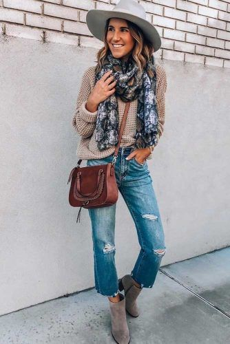 Knit Sweater With Comfy Jeans Outfit #hat #printscarf