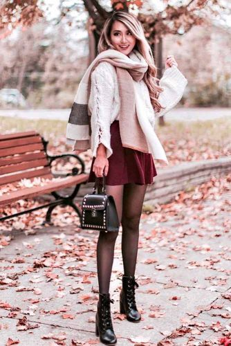 How To Wear a Scarf With Skirt #falloutfit #stylishlook