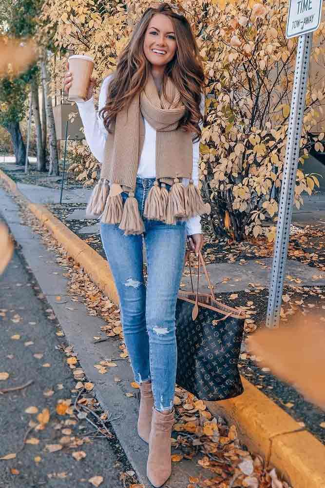 Ripped Jeans With White Sweater And Tassel Scarf #tasselscarf
