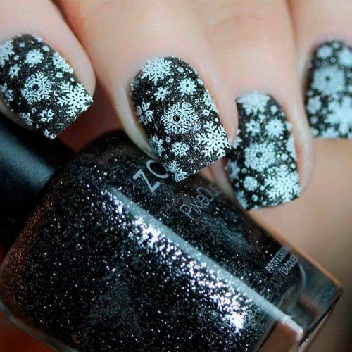 Black Glitter Snowflakes Nail Art #glitternails #winternails