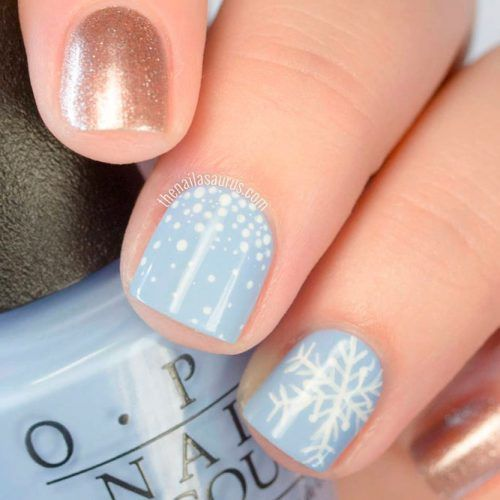 Short Grey Snowflakes Nails #shortnails #winternails