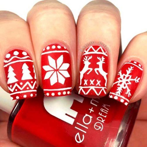 Sweater Pattern Inspiration Nail Art #rednails #winternails