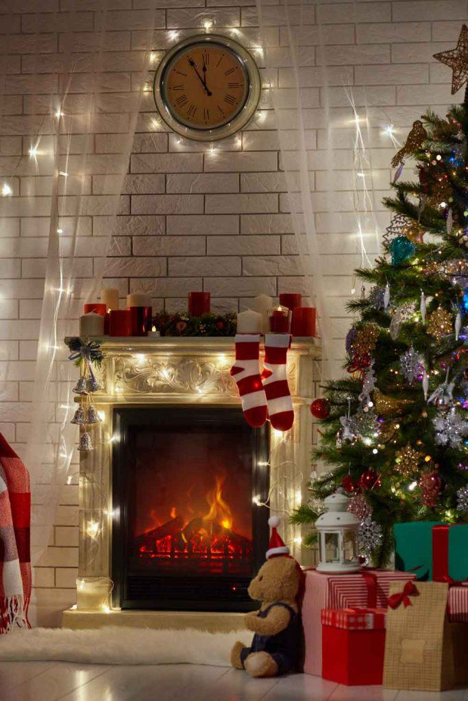 Christmas Fireplace Decor With Led Garlands