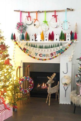 Colorful Fireplace Christmas Decorations #garland #christmastree