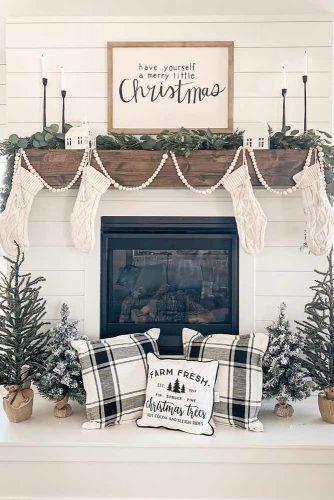 Minimalist Fireplace Decorations #rusticdecoration #plaidpillows