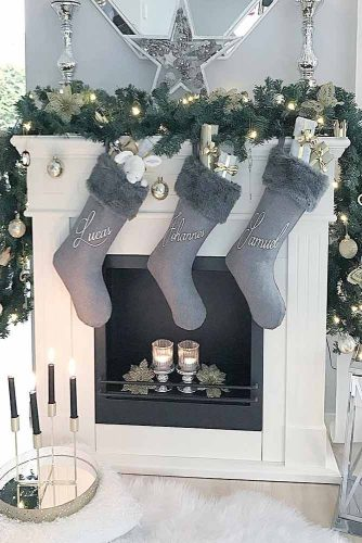 Fireplace Decorations With Gray Socks #star #candles