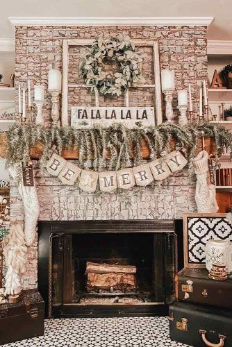 Rustic Fireplace Decor With Lettering Garlands #garland #candleholders