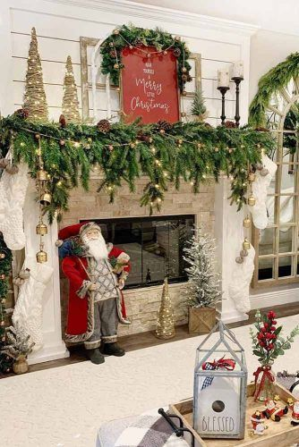 Christmas Fireplace Decoration With Lights #santadecor #garland