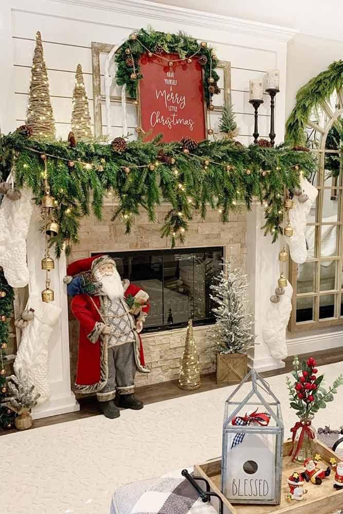 Christmas Fireplace Decoration With Lights #santadecor #garland