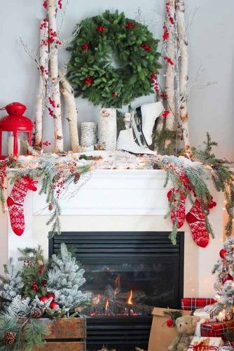 Rustic Fireplace Decorations With Red Socks #lanterns #socks