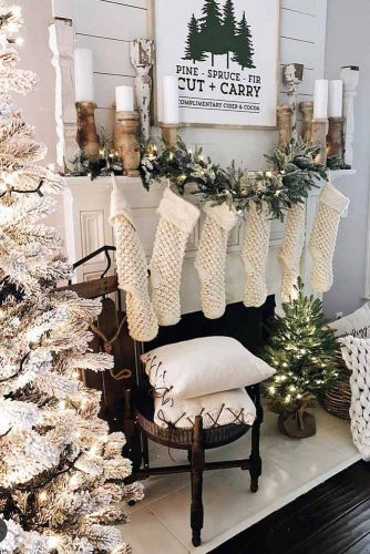 Cozy Fireplace Decorations In Neutral Colors #socks #pillows