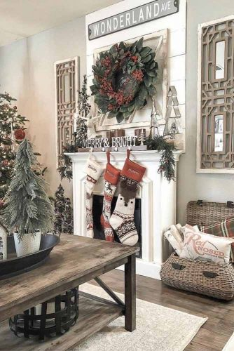 Fireplace Decorations With Big Wreath And Garland #garland #wreath