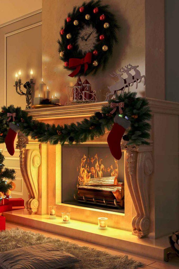 Christmas Fireplace Decor Idea