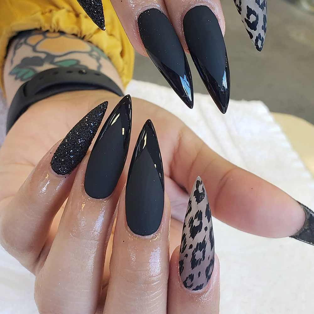 Matte Black Stiletto #stilettonails #pointednails