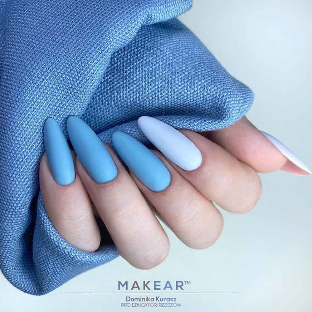 Blue Matte Nails #bluenails #longnaildesign