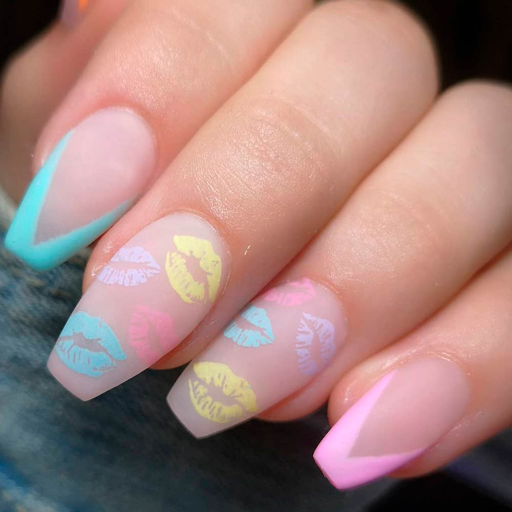 Colorful Kisses Nail Designs #kissesnails #brightnails