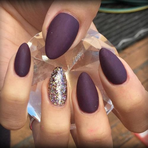 Deep Purple Nails with a Glitter Accent