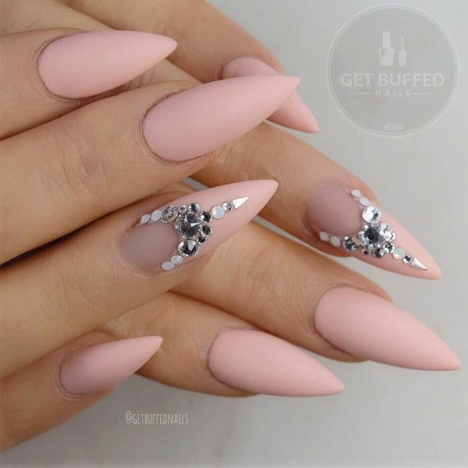 Peach Stiletto Nail Design