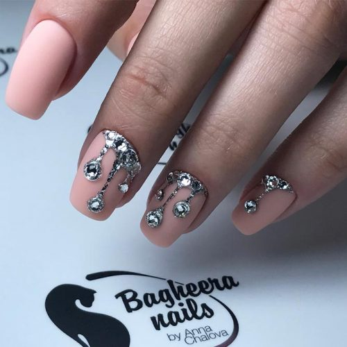 Nude Nails with Glitter Crystals