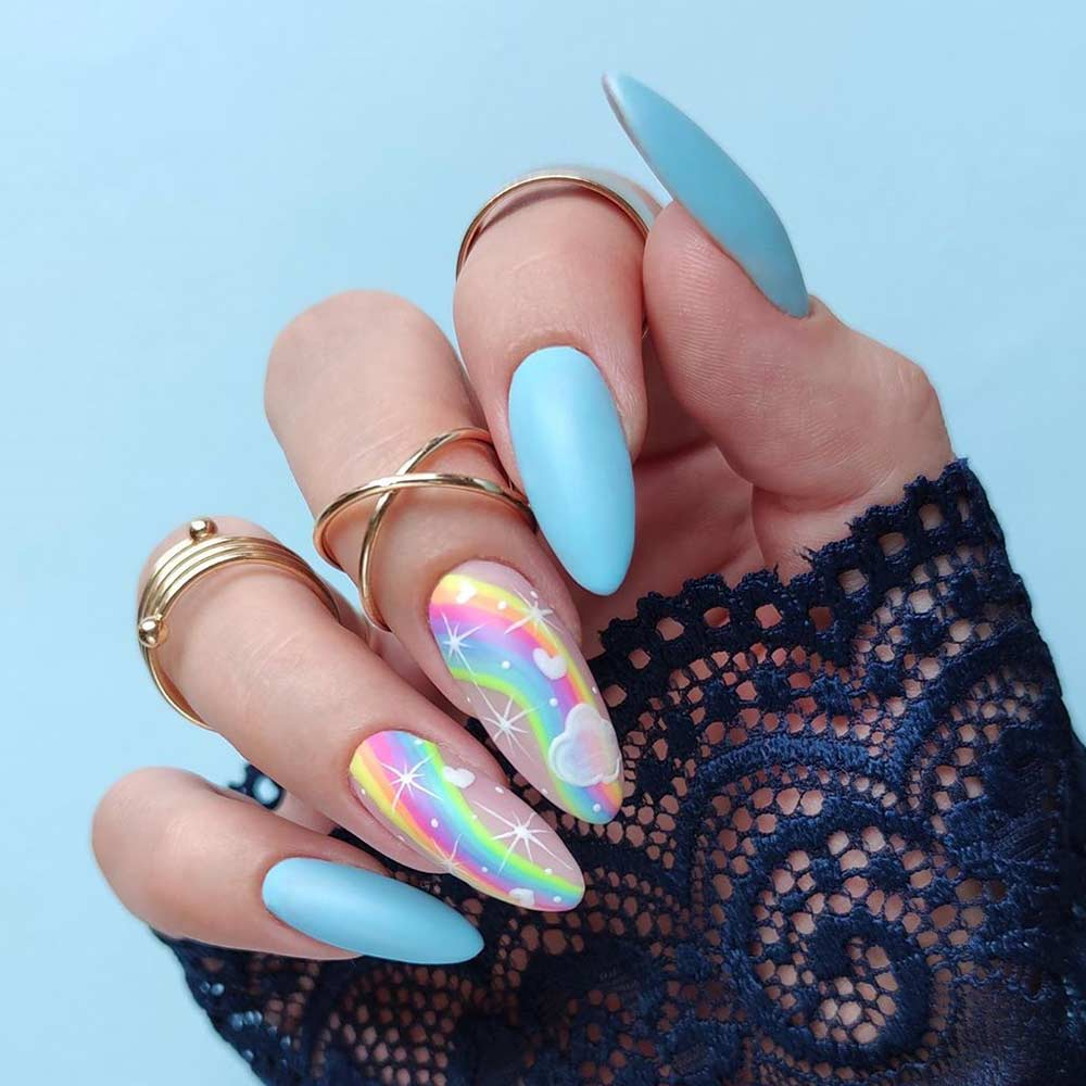 Rainbow Nail Art Design #rainbownailart #nails