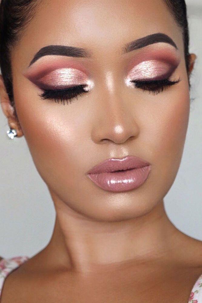 Cut Crease Makeup With Pink Lipgloss #pinklipgloss