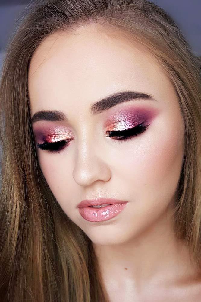 Shimmer Smokey With Pink Lipgloss Makeup #shimmereyeshadow #pinklipgloss