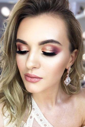 Shimmer Smokey Eyes Makeup With Pink Lips #pinklips