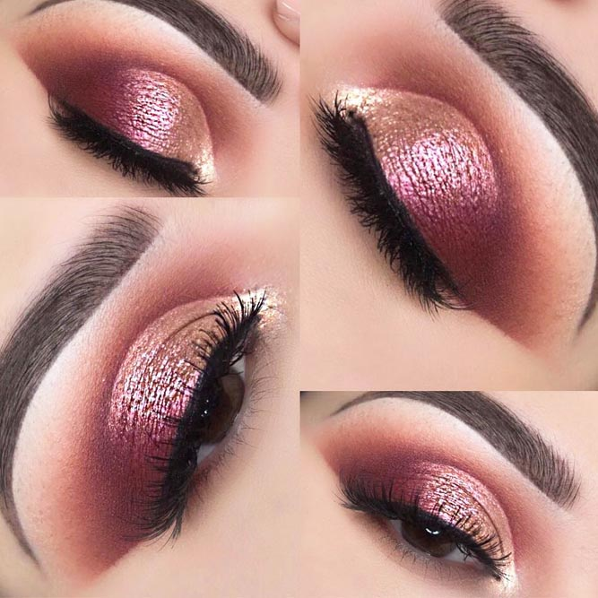 Shimmer Rose Gold Smokey Eyes #shimmershadow #smokey