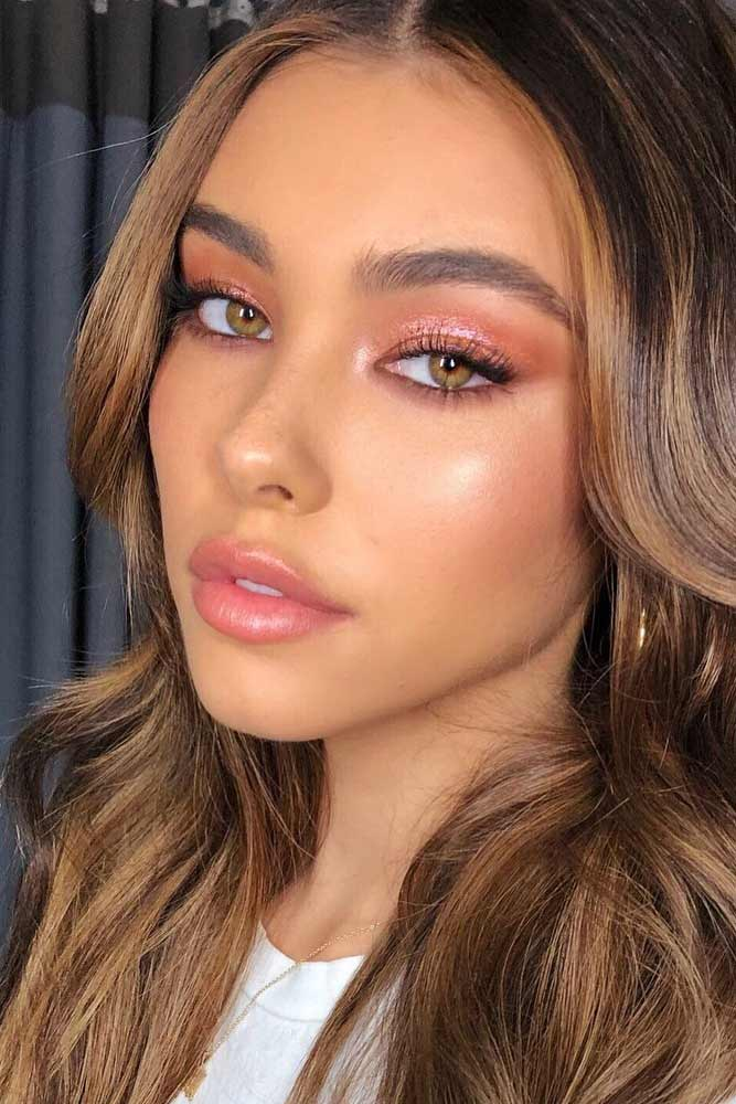 Glitter Pink Shadow With Natural Lips #naturallips