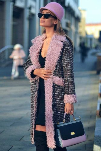 Plaid Coat Design With Pink Accents #plaid #warmcoat