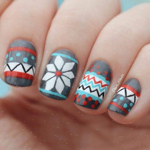 Colorful Sweater Nails  #brightnails #stylishnails