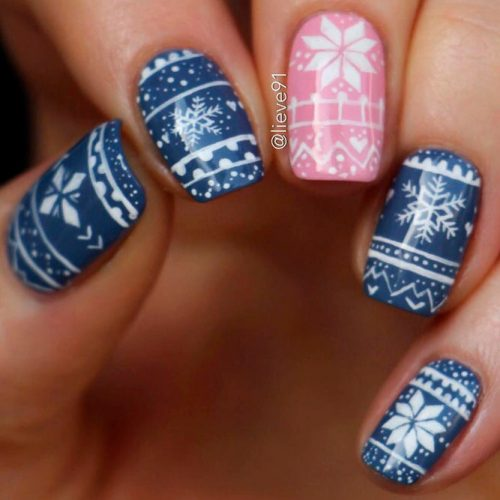 Nordic Patterned Nail Art #winternails #nordicpatternnails