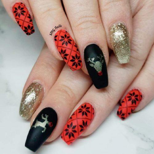 Black, Red And Gold Ornamented Nails #mattenails #blacknails