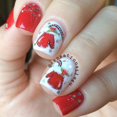 Sparkly Christmas Nail art #glitternails #winternails