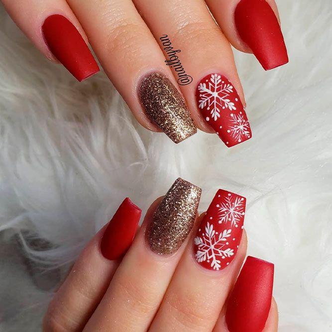 Matte Nail Art With Snowflakes #mattenails #snowflakesnails #coolnailart