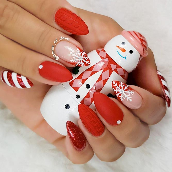 Matte Knited Nail Art #winternails #knitednails #rednails