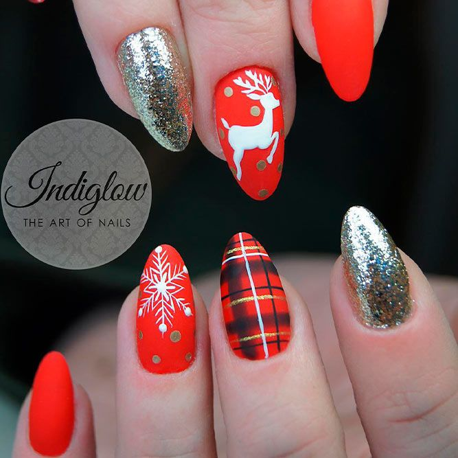 Cozy Plaid Nail Designs For Winter #plaidnails #mattenails #deernails