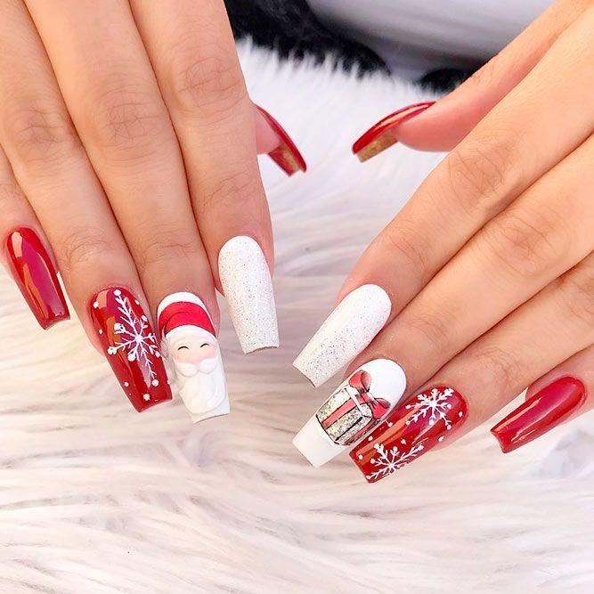 Shiny Santa Nail Desing #winternails #santanails #longnails