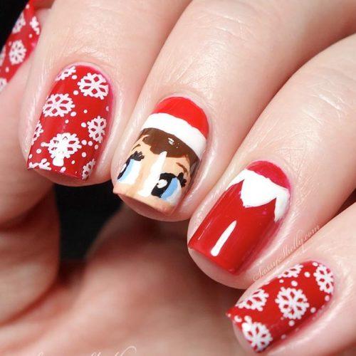 Cute Christmas Nail Art With Helper Of Santa #winternails #rednails #holidaynails