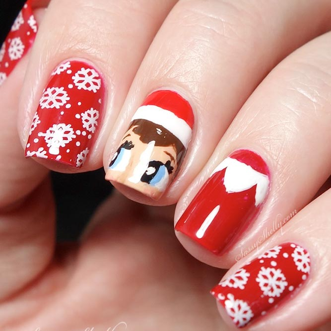 Cute Christmas Nail Art With Helper Of Santa #winternails #rednails #holidaynails