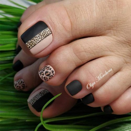Matte Toe Nails With Leopard Art #leopardart
