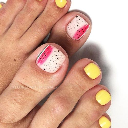 Fruit Matte Toe Nails Art #mattenails