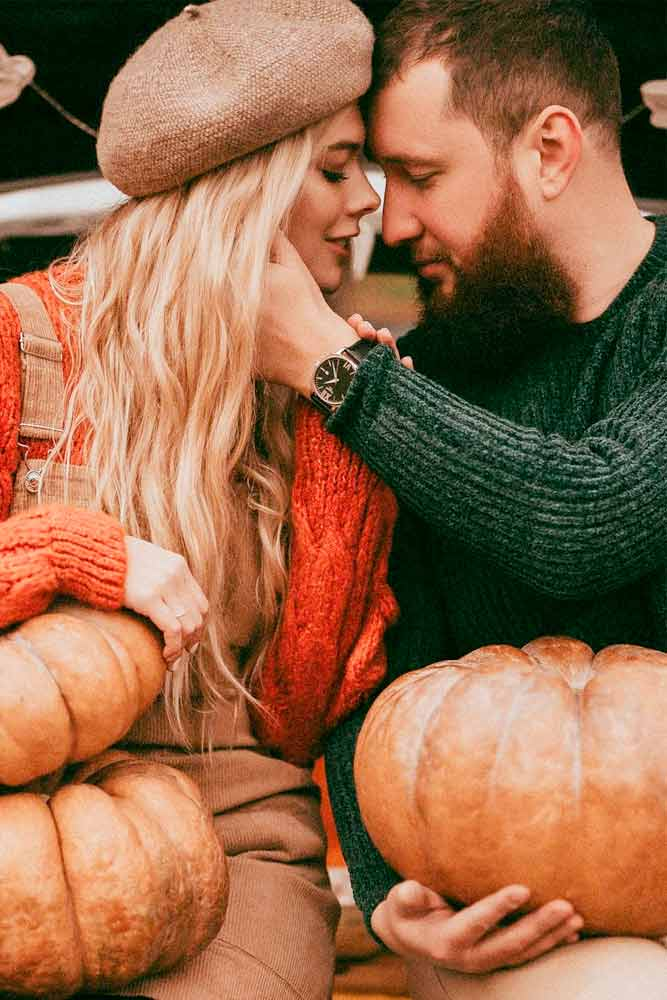 Engagement Photo With Pumpkins #lovestory #engagement