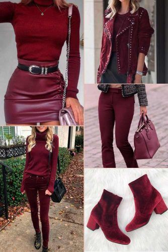 Burgundy Color Trend #outfit #fashion