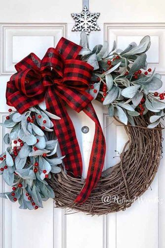 Snowman Christmas Wreath Design #snowman #plaidprint