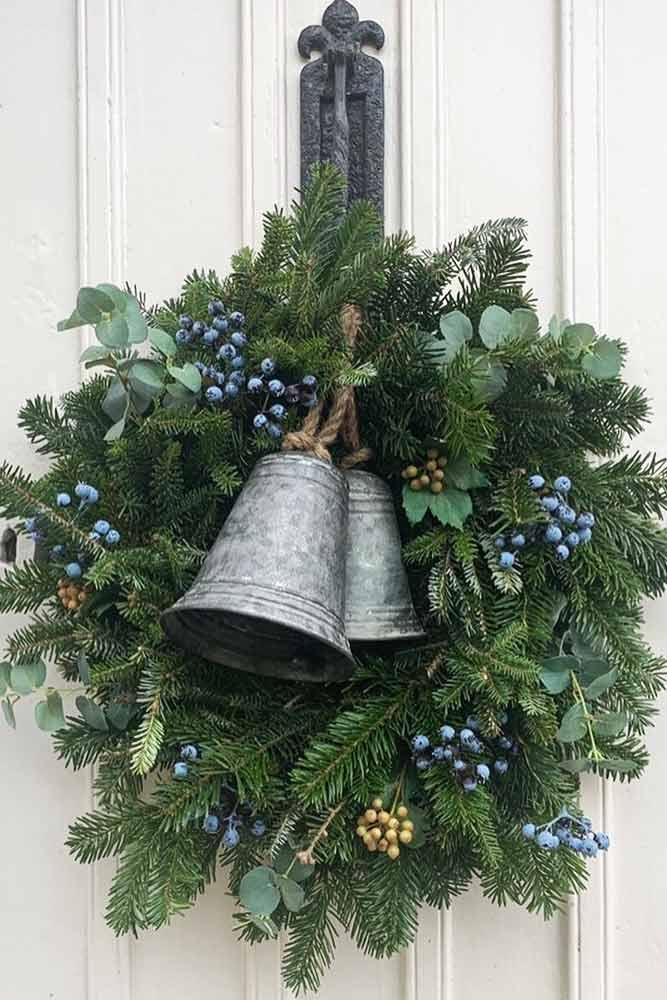 Christmas Wreath With Vintage Bells #bells #berries