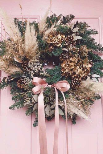 Greenery Wreath With Cones #pinkcones