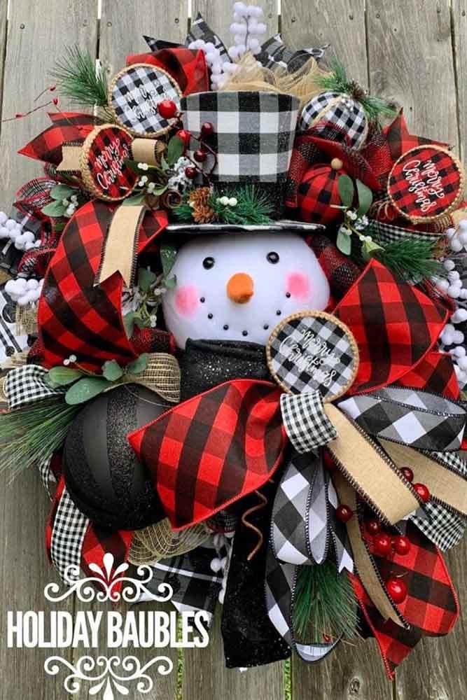Snowman Christmas Wreath Design #snowman #plaidprint