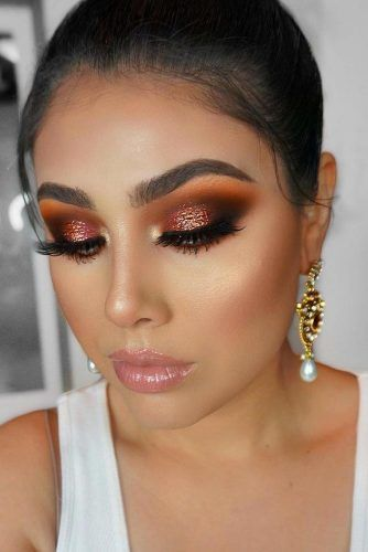 Brown And Copper Glitter Shadow Makeup #glittersmokey