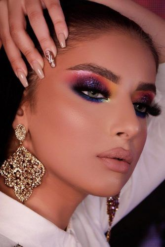Colorful Glitter Makeup Idea #purpleglitter